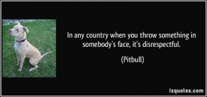 ... you throw something in somebody's face, it's disrespectful. - Pitbull