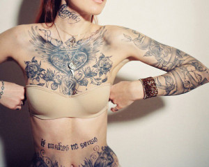 quote belly inked tattoo heart ink rose neck sleeve wing chest vine