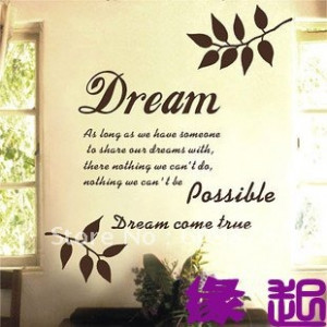 Dream Come True Quote Lettering Words Vinyl Wall Decal Sticker English ...