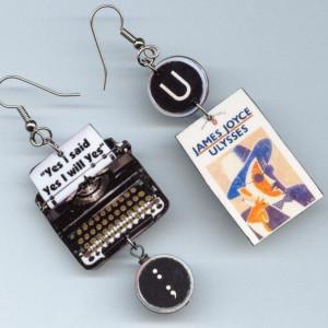 Ulysses Earrings Vintage Typewriter James Joyce quote book cover. $16 ...