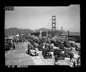 Auto parade on the opening day of the Golden Gate Bridge heading ...