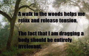 relaxing walk in the woods…