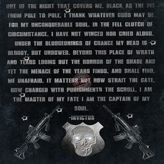 Law enforcement SWAT poster with Invictus quote More