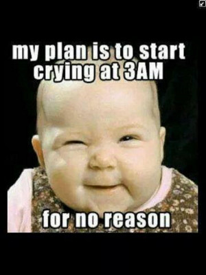 Cute Funny Baby Saying....My Plan Is To Start Crying At 3am For No ...