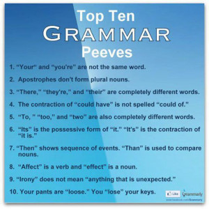Here, according to Grammarly, are the top ten grammar peeves. Do you ...