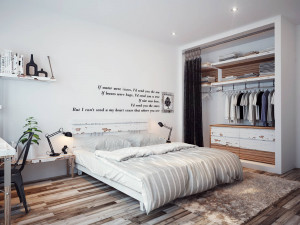 walls decorated sparsely with poetic quotes make this modern bedroom ...