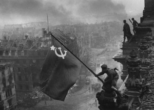... waving the Russian flag in one of World War 2's most memorable images