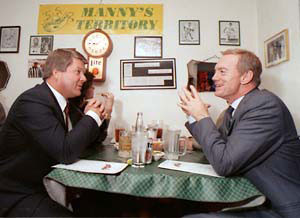 Jerry Jones, right, dines with Jimmy Johnson at a Tex-Mex restaurant ...