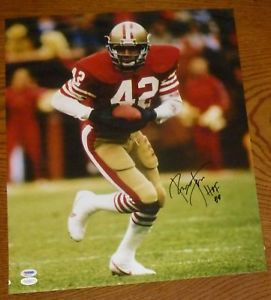 Ronnie Lott Signed 49ers Football 16x20 Photo PSA DNA COA HOF Picture