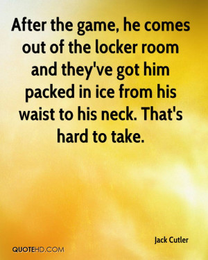After the game, he comes out of the locker room and they've got him ...