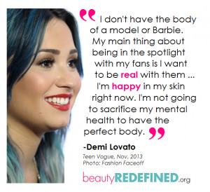 Demi Lovato Beauty Redefined Quote Graphic