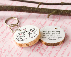 Cute Animal Love Quotes Wood quote keychain hedgehog