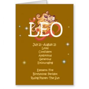 Zodiac Happy Birthday Card Leo