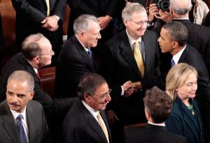 Jon Kyl U S President Barack Obama greets L R Sen Lamar Alexander