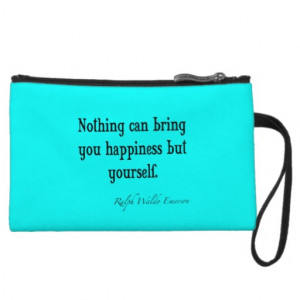 Vintage Emerson Happiness Quote Neon Blue Teal Wristlet Purse