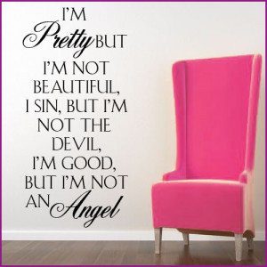 Pretty ~ Wall sticker Quote / decals