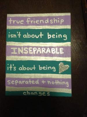 Best friends quote canvas - silver, teal, purple, glitter, BFF, best ...