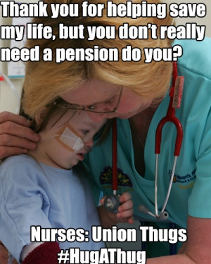 Disgusting union thug nurses... just going around helping people all ...