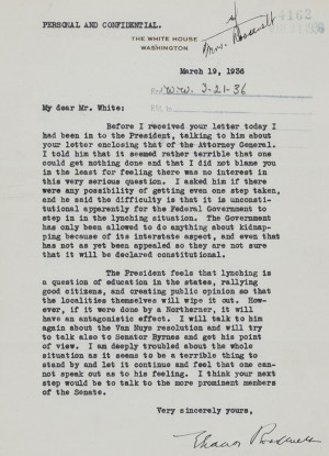 Letter from Eleanor Roosevelt to Walter White, March 19, 1936 ...