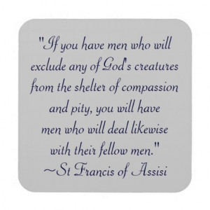 St. Francis Animal Compassion Quote Coasters