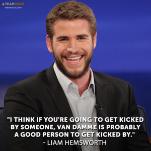 Funny Liam Hemsworth Quote On Being Kicked By Van Damme