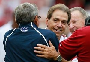 Alabama head coach Nick Saban w/Penn State head coach Joe Paterno as ...