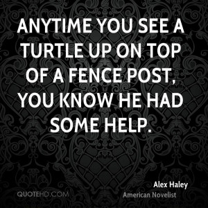 Anytime you see a turtle up on top of a fence post, you know he had ...