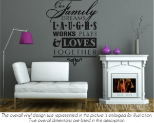 Vinyl Wall Art - Quote - Our Family Dreams Laughs Works Plays and ...