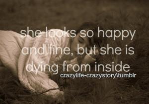 dead, feeling, fine, girl, happy, inside, life, photo, pretty, quote ...