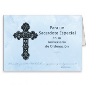 Spanish Ordination Anniversary Priest, Cross Greeting Card
