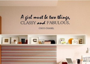 Coco Chanel Quote - Classy and Fabulous - Vinyl Wall Decal Sticker Art