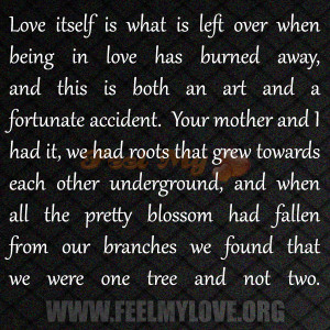 Love itself is what is left over when being in love has burned away