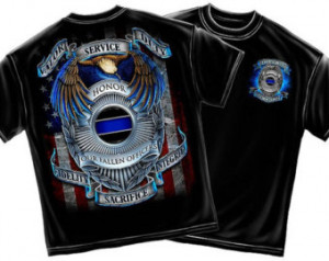 Valor Service Duty Fallen Police Of ficers Thin Blue Line T-Shirt Size ...