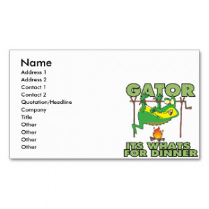 GATOR its whats for dinner funny cartoon Business Cards