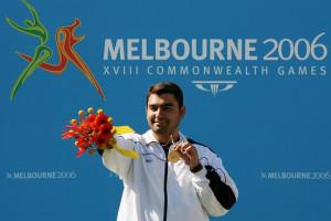 Gagan Narang celebrated after receiving a gold medal at the 2006 ...