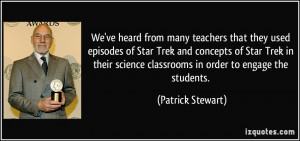 that they used episodes of Star Trek and concepts of Star Trek ...