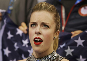 Ashley Wagner's reaction to her scores in the team event short program ...