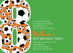 8th Birthday Soccer Green Birthday Invitations