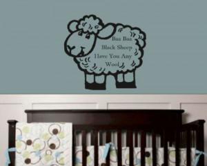 Baa Baa Black Sheep Children Quote Kids Wall Sticker Vinyl Decal Home ...