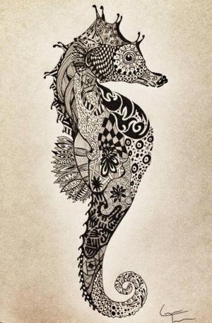 ... Tattoo, Cool Tattoos, Seahorses Tattoo, Seahorse Art, Seahorse Tattoo
