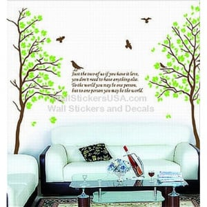 Brown Tree Green Leaves Brids w/ Quote