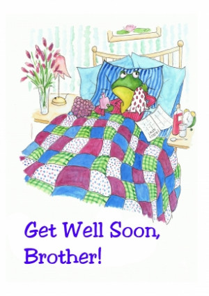 Fun Green Froggy Get Well Soon Card for Brother (Judy Adamson)