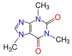 The chemical structure of a caffeine molecule