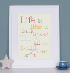 wall decor life is a blank canvas quotes