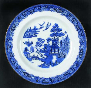 Blue Willow China With Gold Trim