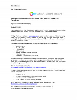 Free Template Design Quote   Website, Blog, Brochure, PowerPoint ...