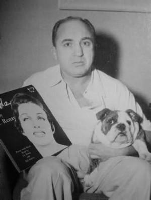 LA Mob Boss Mickey Cohen with his little bulldog, Mickey Cohen Jr.