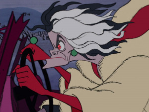 The crazed and determined Cruella chasing after the puppies in her car