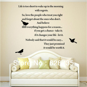 LIFE-IS-TOO-SHORT-Inspirational-Poems-WALL-ART-QUOTE-DECAL-VINYL ...