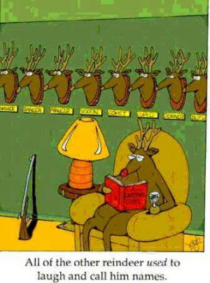 All the other reindeers USED to laugh and call him names !!